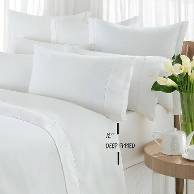LOT of 03 NEW QUEEN SIZE WHITE HOTEL PREMIUM FITTED SHEETS T200 DEEP 60x80X12