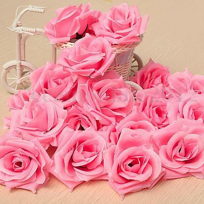 20X Rosas Roses Boda Flores Artificiales Decoración Ramillete DIY Flower 8cm