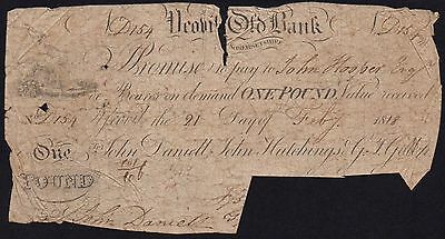 1818 YEOVIL OLD BANK £1 BANKNOTE  * D 154 * FAIR * Outing 2443 *