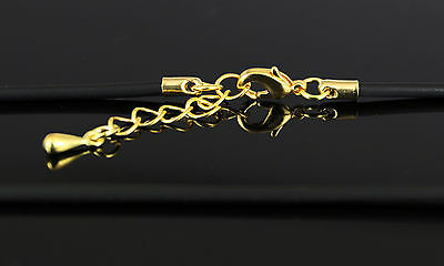 """16"""" - 17""""  Black Neoprene Necklace with Gold Plated Lobster Clasp"""