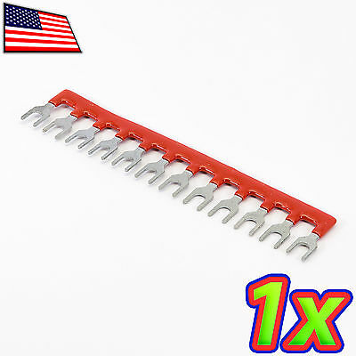 [1x] 12 Postions Insulated Terminal Block Jumper Shunt Strip Red 400V 10A