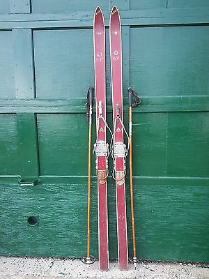 """Vintage Wooden 77"""" Long RED Skis with Cable Bindings and Bamboo Poles"""
