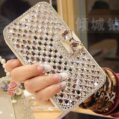Bling Diamond Rhinestone Bow Wallet Leather Stand Case Cover For Huawei models
