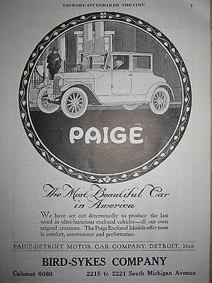 Antique 1919 Paige Detroit Motor Car 2 Sided Print Ad Studebaker Chicago Mi Ave