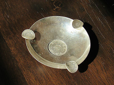 Antique 76g 900 Silver Coin Dish Ashtray With silver coins