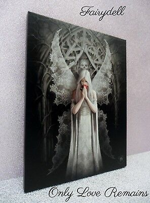 'only Love Remains'  Stunning Anne Stokes Gothic Lace Winged Angel Wall Plaque