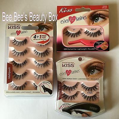 Kiss Ever EZ 11 strip lashes, with Lash Applicator. Demi Wispie Style.