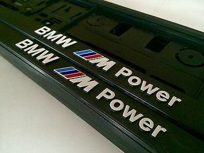 2X 3D Bmw M Power Number Plate Surrounds White