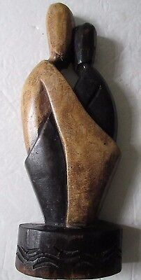 Wooden Statue Figurine Embrace Hand Crafted Statuette