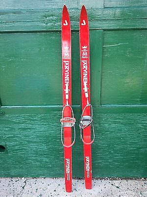 """VINTAGE Wooden 53"""" Skis with Red White and Red Finish with Cable Bindings"""