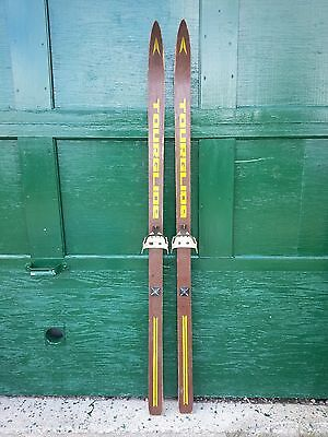 "VINTAGE Wooden 58"" Skis with Brown  Finish 62"
