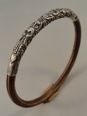 Vintage Silver Chinese Rattan Bamboo Double Dragon Bangle Bracelet