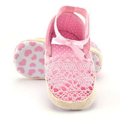 Baby Infant Kids Girl Summer Soft Sole Crib Crochet Toddler Newborn Shoes 0-18M