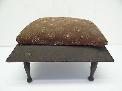 Antique Old Used Small Decorative Red Cushion Pegged Legged Footstool Stool