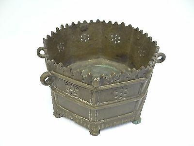 Antique Old Metal Cast Bronze Decorative Asian Garden Hanging Planter Holder