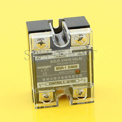 High Quality DC-AC 40A 3-32VDC to 24-480V AC Solid State Relay SSR + Clear Cover