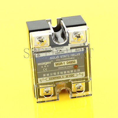 High Quality DC-AC 50A 3-32VDC to 24-480V AC Solid State Relay SSR + Clear Cover