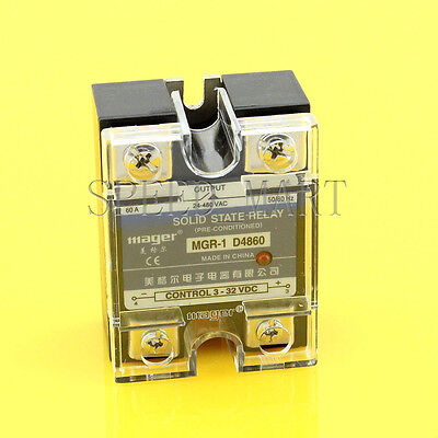High Quality DC-AC 60A 3-32VDC to 24-480V AC Solid State Relay SSR + Clear Cover