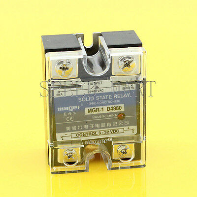 High Quality DC-AC 80A 3-32VDC to 24-480V AC Solid State Relay SSR + Clear Cover