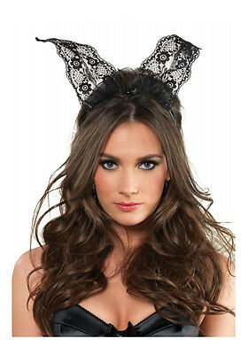 Leg Avenue A2742 Scalloped Lace Bunny Ears (Black;One Size)