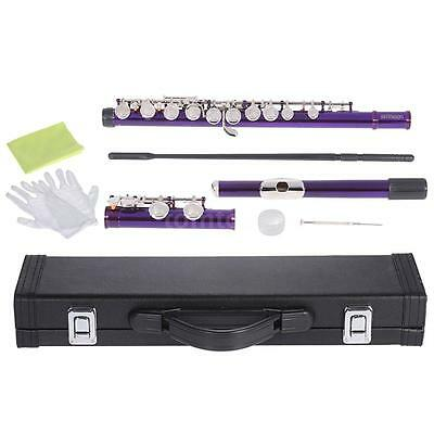 ammoon Close Hole C Flute Cupronickel with Cleaning Kit for Beginner Purple O5Y4