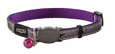 Rogz Nightcat Cat Collar Purple Birds Reflective with Safety Buckle