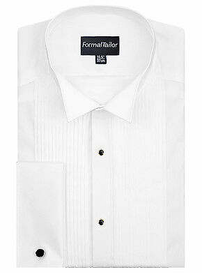 Formal Tailor Mens Wing Collar White Pleated Stud Evening Shirt