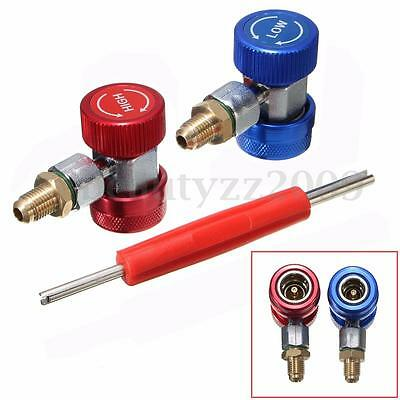 Adapter R134A Quick Coupler 90° Low & High Side AC Manifold Extractor Valve Core