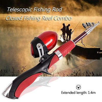 New Portable 1.4m Telescopic Fishing Rod and Closed Fishing Reel Combo H7D0