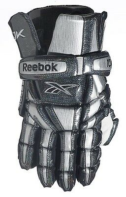 "New Reebok 10K lax gloves size M medium 12"" inch silver Brand NWT lacrosse glove"