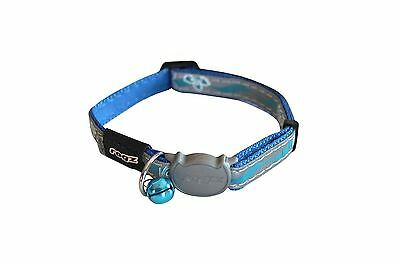 Rogz Nightcat Cat Collar Blue Floral Reflective with Safety Buckle