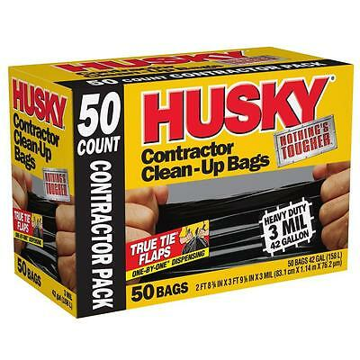 HUSKY 42 Gallon Heavy Duty Construction Garbage Trash Contractor Bags (50-Count)