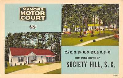 Society Hill South Carolina Manors Motor Court Linen Antique Postcard K15187