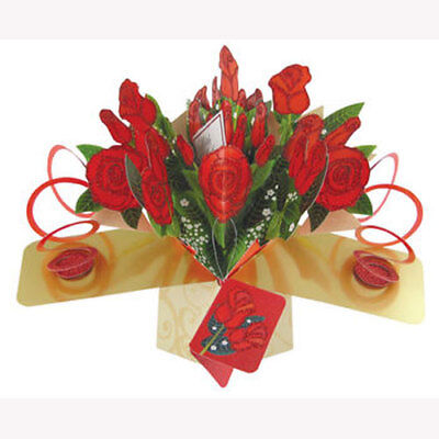 3D  Pop Up Greeting Card by Second Nature - Bunch Of Roses - #SN-POP-091