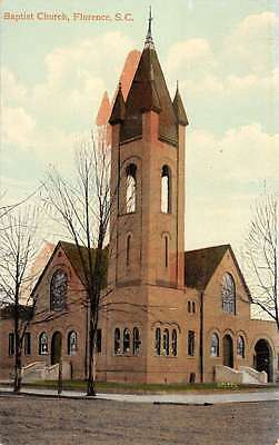 Florence South Carolina Baptist Church Street View Antique Postcard K15290