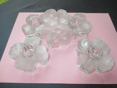 1948 Dogwood Satin & Clear Colony Glass Candle Holders 2 Lite Block 2 Single