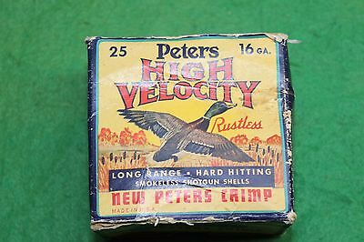 Peters High Velocity 12ga 2 3/4 inch Vintage Bright Colored Duck Box Empty