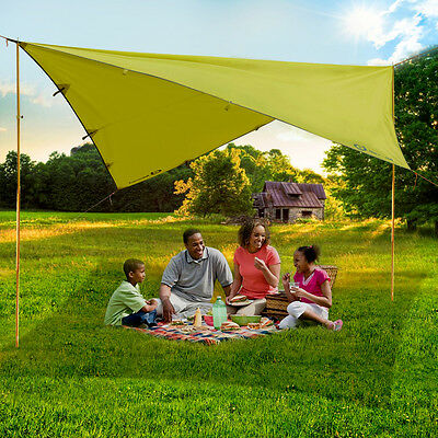 Camping Awning Large Ultralight Tarp Trail Family Tent Shelter w/Adjustable Pole