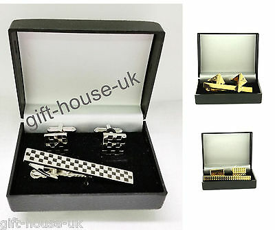Men's Tie Clip & Cuff link Set Gold Silver Wedding Cuff links Christmas Gift Set