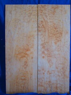 2 Bookmatched  Quartersawn Bigleaf Quilted Maple Wood Acoustic Guitar Backs
