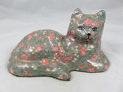 Vintage Cat Kitten - Art Figurine Statue - Decoupage - Flower Floral Design