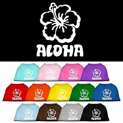 ALOHA Hawaiian Hibiscus Flower Dog T-Shirt * Sleeveless Puppy Pet Hawaii Tee