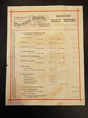Pacific Bank Accountants' Daily Report 1882