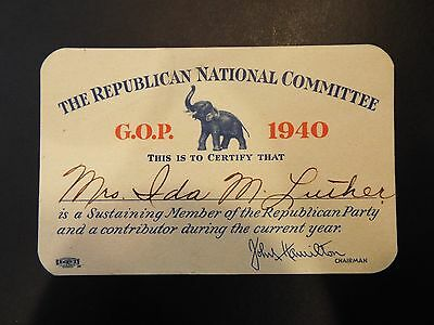 The Republican National Committee G.O.P. 1940 Membership Card