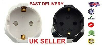 Pro European Euro EU Schuko 2 Pin to UK 3 Pin Travel Mains Adaptor Plug