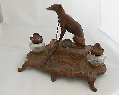 Antique BOSSU Greyhound Inkwell ~ Glass Bottles, Cast Iron