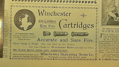 Antique Print Advertising, NOT Repro, Winchester Repeating Arms Co, 11/26/1896