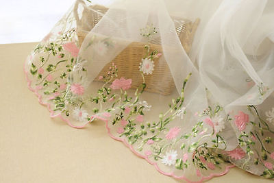 """Lace Fabric Organza Pink Floral Embroidery Wedding Fabric 51"""" width 1 yard"""
