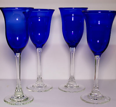 Steven Cornett Studio Art Glass Blue Clear Tall Goblet Goblets Stems Set of 4 -C