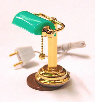 1:12 Scale Working Desk Lamp With A Green Shade Doll House Miniature Lights 1096